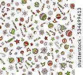 vector merry christmas seamless ... | Shutterstock .eps vector #534699613