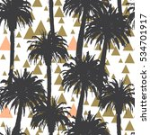 tropical palm trees seamless... | Shutterstock . vector #534701917