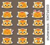 set of cute cartoon cat with... | Shutterstock .eps vector #534716533
