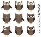 Set Of Cute Cartoon Owls With...
