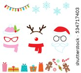christmas vector cartoon photo... | Shutterstock .eps vector #534717403