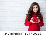 beautiful woman in a red... | Shutterstock . vector #534719113