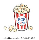 popcorn in a red striped bucket ... | Shutterstock .eps vector #534748507