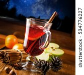 glass of mulled wine on a table ...   Shutterstock . vector #534776227