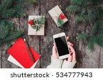 female hands holding mobile... | Shutterstock . vector #534777943