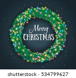 christmas wreath with colourful ... | Shutterstock .eps vector #534799627