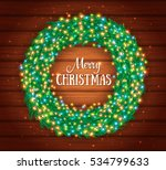 christmas wreath with colourful ... | Shutterstock .eps vector #534799633