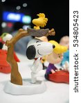 Small photo of Bangkok, Thailand - December 4, 2016 : Snoopy and Woodstock plastic toys from McDonald's Happy Meal for children was on display. Editorial Used Only.