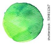 Green Circle Painted Watercolo...