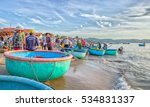 Small photo of Phan Thiet, Vietnam - July 26th, 2016: Landscape brisk trade in fish at Mui Ne fishing village on a sunny morning, which attracts tourists to visit