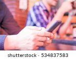 smart phone hold   touch in a... | Shutterstock . vector #534837583