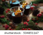mulled wine in glass mugs...   Shutterstock . vector #534851167