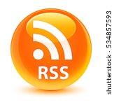 rss glassy orange round button   Shutterstock . vector #534857593