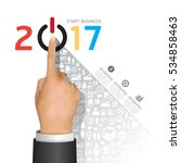 business 2017 finger touch... | Shutterstock .eps vector #534858463