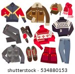 set of warm winter fashion... | Shutterstock .eps vector #534880153