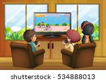 kids playing video games at home | Shutterstock .eps vector #534888013