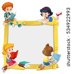 border design with kids reading ... | Shutterstock .eps vector #534922993