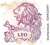 zodiac sign of leo with a... | Shutterstock .eps vector #534923497
