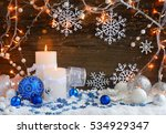 christmas candles with... | Shutterstock . vector #534929347