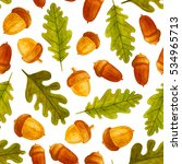 seamless pattern with acorns....   Shutterstock . vector #534965713