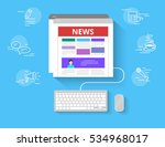 online reading news. flat... | Shutterstock .eps vector #534968017