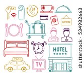 hotel service doodle icons.... | Shutterstock .eps vector #534982663