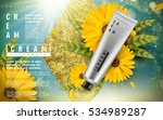 calendula cream ad  with golden ... | Shutterstock .eps vector #534989287