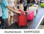 suitcase on luggage conveyor... | Shutterstock . vector #534992203