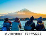 tourists enjoy freely view mt... | Shutterstock . vector #534992233