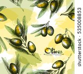 olives seamless pattern color... | Shutterstock .eps vector #535008853