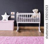minimalist girl's nursery with... | Shutterstock . vector #535011013