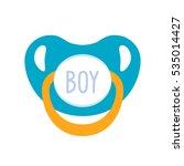 baby pacifier blue. flat vector ... | Shutterstock .eps vector #535014427
