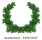a wreath of pine branches with... | Shutterstock . vector #535014457