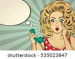 surprised pop art woman with...   Shutterstock .eps vector #535023847