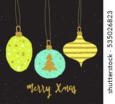 gold merry christmas ball with... | Shutterstock .eps vector #535026823