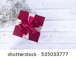 red color gift box with flower... | Shutterstock . vector #535033777