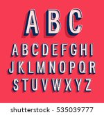 retro alphabet. vector... | Shutterstock .eps vector #535039777