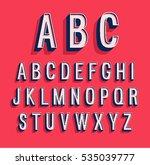 Retro alphabet. Vector illustration.   Shutterstock vector #535039777