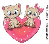 Two Cute Cartoon Kittens Is...