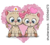two cute cartoon kitten on a... | Shutterstock .eps vector #535046473