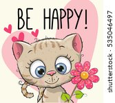 Stock vector be happy greeting card kitten with hearts and a flower 535046497