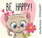 be happy greeting card kitten...   Shutterstock .eps vector #535046497
