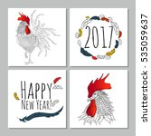 greeting new year card set with ... | Shutterstock .eps vector #535059637