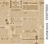 seamless old newspaper  french... | Shutterstock .eps vector #535075003