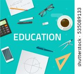 education objects on work desk... | Shutterstock . vector #535089133