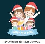 happy family wear christmas... | Shutterstock .eps vector #535089937
