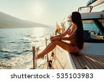 Luxury Woman Yachting In Sea A...