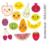 set strawberry  orange  banana... | Shutterstock . vector #535111387
