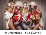 beautiful sexy group of santa... | Shutterstock . vector #535113457