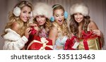 beautiful sexy group of santa... | Shutterstock . vector #535113463